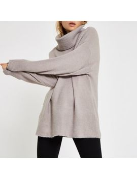 Grey Oversized Roll Neck Jumper by River Island