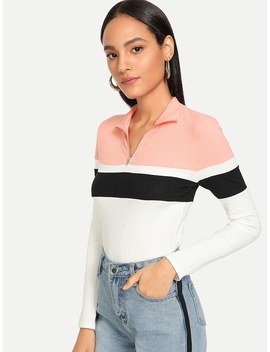 Colorblock Form Fitting Rib Knit Tee by Shein
