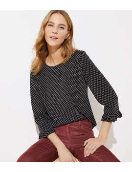 Clip Dot Double Ruffle Cuff Blouse by Loft