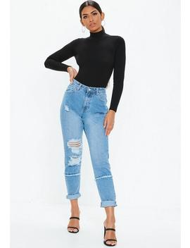Black High Neck Lace Up Back Knitted Bodysuit by Missguided