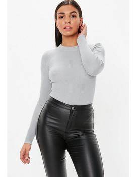 Grey Crew Neck Ribbed Knitted Bodysuit by Missguided