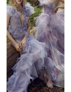 One Shoulder Tulle And Organza Gown by Marchesa