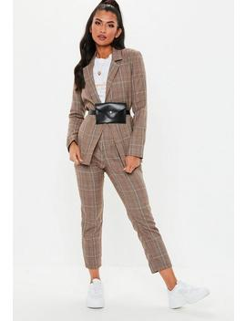 Brown Woven Check Tailored Co Ord Blazer by Missguided
