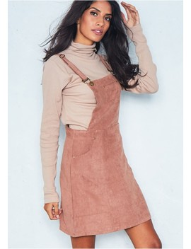 Alita Camel Suede Pinafore Dress by Missy Empire