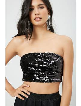 Cropped Sequin Tube Top by Forever 21
