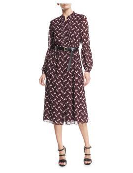 Chevron Print Georgette Midi Dress With Belt by Michael Michael Kors