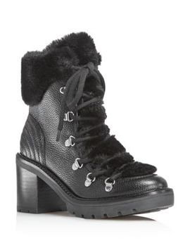 Daven Leather & Faux Fur Cuff Lace Up Booties   100 Percents Exclusive by Marc Fisher Ltd.
