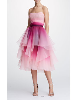 Strapless Ombre Organza A Line Cocktail Dress by Marchesa
