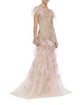 Off The Shoulder Feather Gown by Marchesa