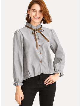 Single Breasted Tie Neck Corduroy Blouse by Romwe