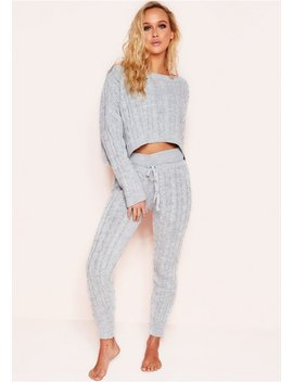 Rene Grey Cable Knit Cropped Loungewear Set by Missy Empire