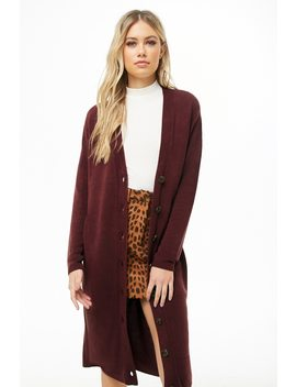Longline Button Front Cardigan by Forever 21
