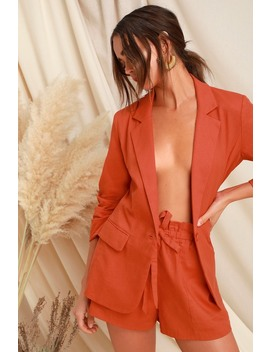 Fine Tune Coral Red Linen Blazer by Lush