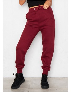 Valerie Wine Lounge Joggers by Missy Empire