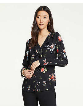 Garden Floral V Neck Ruffle Blouse by Ann Taylor