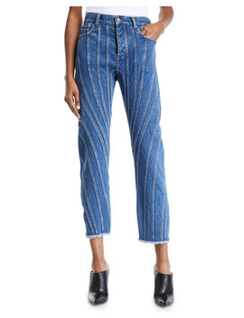 Seam Striped Raw Hem Straight Leg Jeans by Thierry Mugler