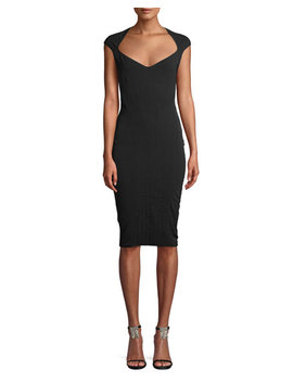 Wide Neck Cap Sleeve Fitted Stretch Twill Dress by Thierry Mugler