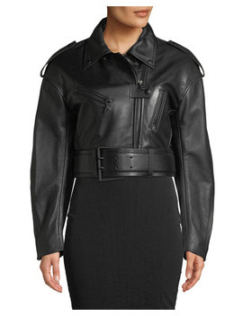Cropped Soft Leather Moto Jacket by Thierry Mugler
