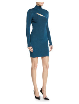 Turtleneck Long Sleeve Ribbed Dress W/ Slit Detail by Thierry Mugler