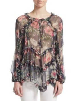 Iris Ruffle Silk Top by Zimmermann