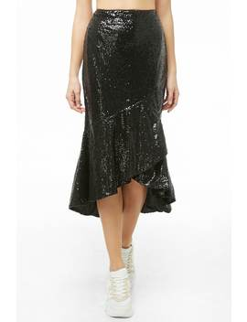 Sequin Ruffle Midi Skirt by Forever 21
