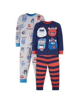 Mini Club 2 Pack Monster Pyjamas by Mini Club