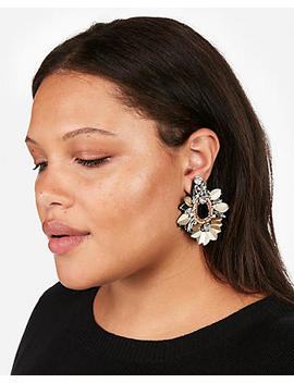Sequin Stone Drop Earrings by Express