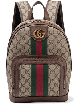 Ophidia Small Textured Leather Trimmed Printed Coated Canvas Backpack by Gucci