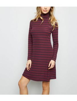 Burgundy Stripe Ribbed Roll Neck Skater Dress by New Look