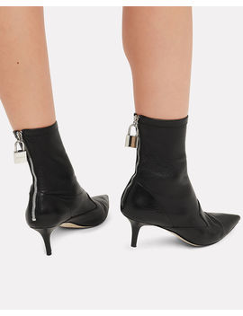 Lock Charm Black Leather Booties by Monse
