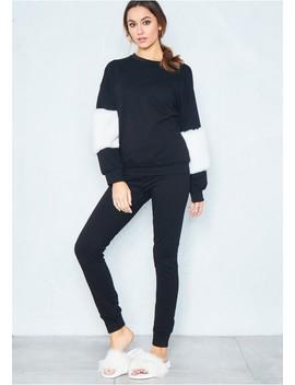 Melissa Black Faux Fur Sleeve Loungewear Set by Missy Empire