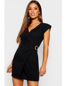 Petite Knitted Rib Buckle Detail Dress by Boohoo