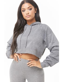 Hooded Cropped Sweatshirt by Forever 21