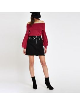 Dark Pink Knit Bardot Jumper by River Island