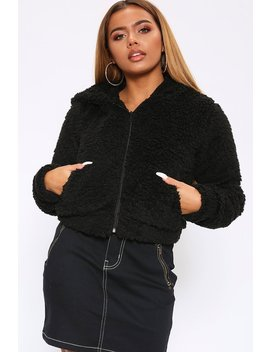 Black Teddy Borg Hooded Zip Up Jacket by I Saw It First