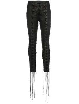 Lace Up Cropped Leather Trousers by Unravel Project