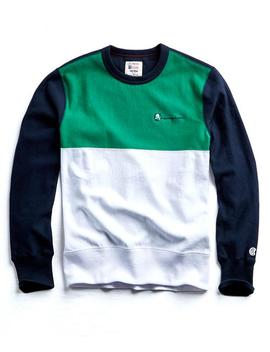 Champion Colorblock Crewneck In Navy/Green by Todd Snyder + Champion