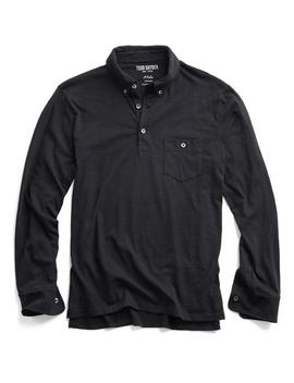 Made In L.A. Long Sleeve Polo In Black by Todd Snyder