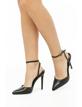 Pointed Toe Faux Leather Stiletto Heels by Forever 21