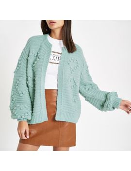 Green Bobble Knit Long Sleeve Cardigan by River Island