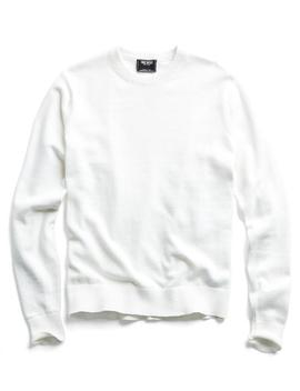 Cotton Cashmere Sweater In White by Todd Snyder