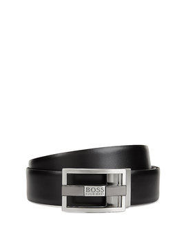 Reversible Belt In Leather With Double Buckle Option by Boss