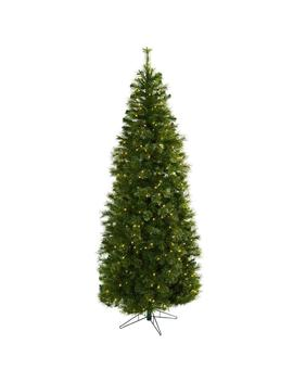 7.5 Ft. Cashmere Slim Artificial Christmas Tree With Clear Lights by Nearly Natural