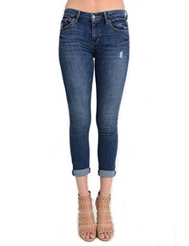 Eunina Women's Greta Mid Rise Skinny Roller Crop Jeans by Eunina Jeans