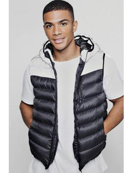 Reflective Panel Quilted Gilet by Boohoo