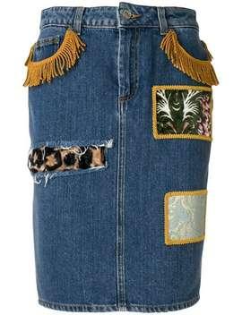 Patchwork Denim Skirt by Jeremy Scott