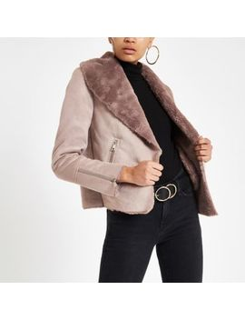 Pink Fallaway Faux Suede Jacket by River Island