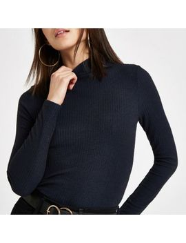 Navy Ribbed High Neck Top by River Island