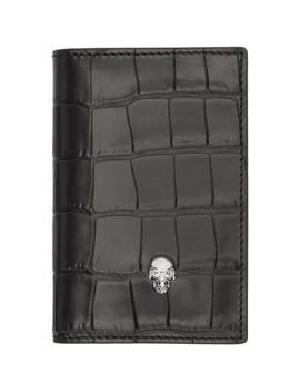 Black Croc Skull Pocket Organizer Card Holder by Alexander Mcqueen