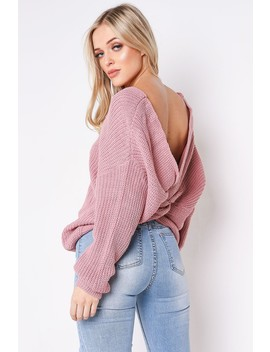 Pink Twist Knitted Jumper by Lasula